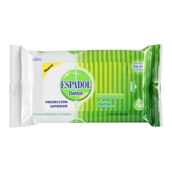 Toallas Humedas ESPADOL Antibacteriales Fwp 10 Un
