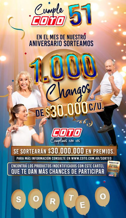 ⭐ COTO SORTEO 2021 51 ANIVERSARIO 1000 CHANGOS